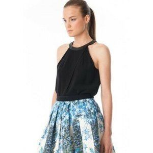 * Tibi Halter Style Top with Leather Detailing *